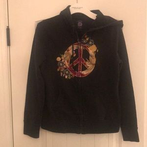 Lucky Brand Peace embroidered hoodie